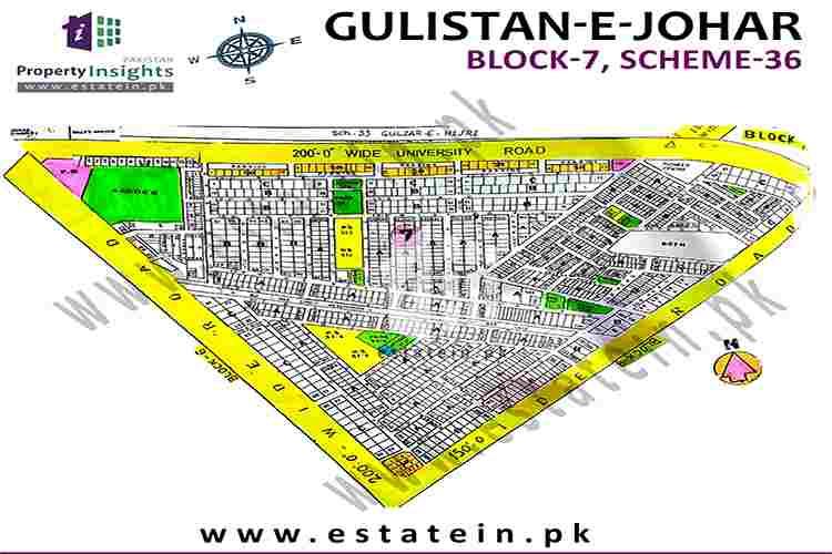 Site Plan of Block 7 of Gulistan-e-Johar Block-7