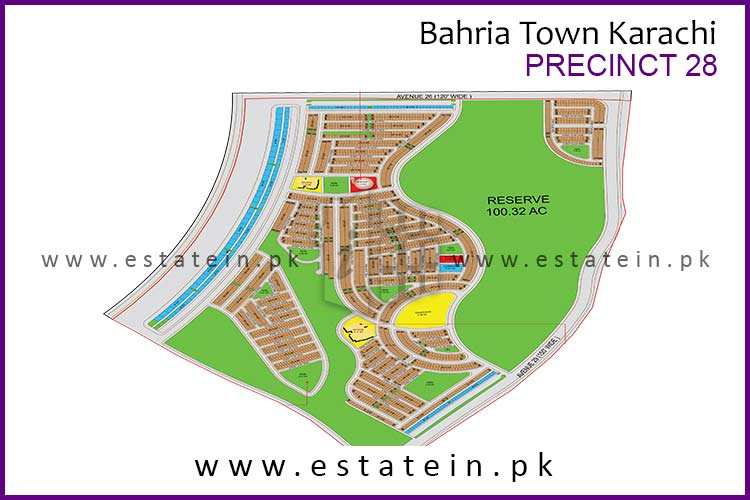 Site Plan of Precinct-28 of Bahria Town Karachi