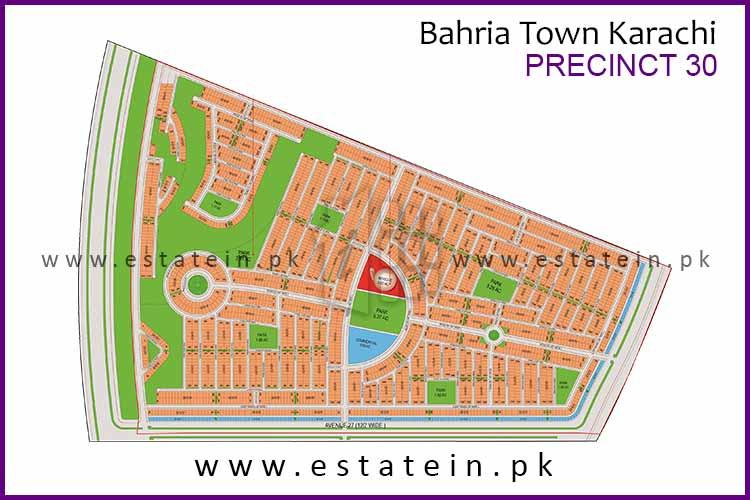 Site Plan of Precinct-30 of Bahria Town Karachi