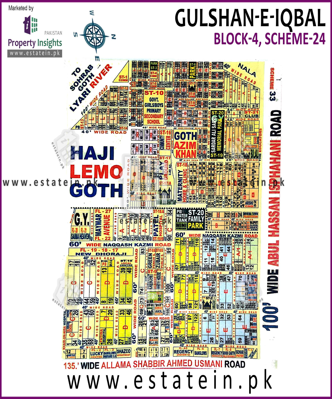 Site Plan of Block 4 (A) of Gulshan-e-Iqbal Block-4
