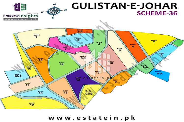 Site Plan of Block 19 of Gulistan-e-Johar Block-19