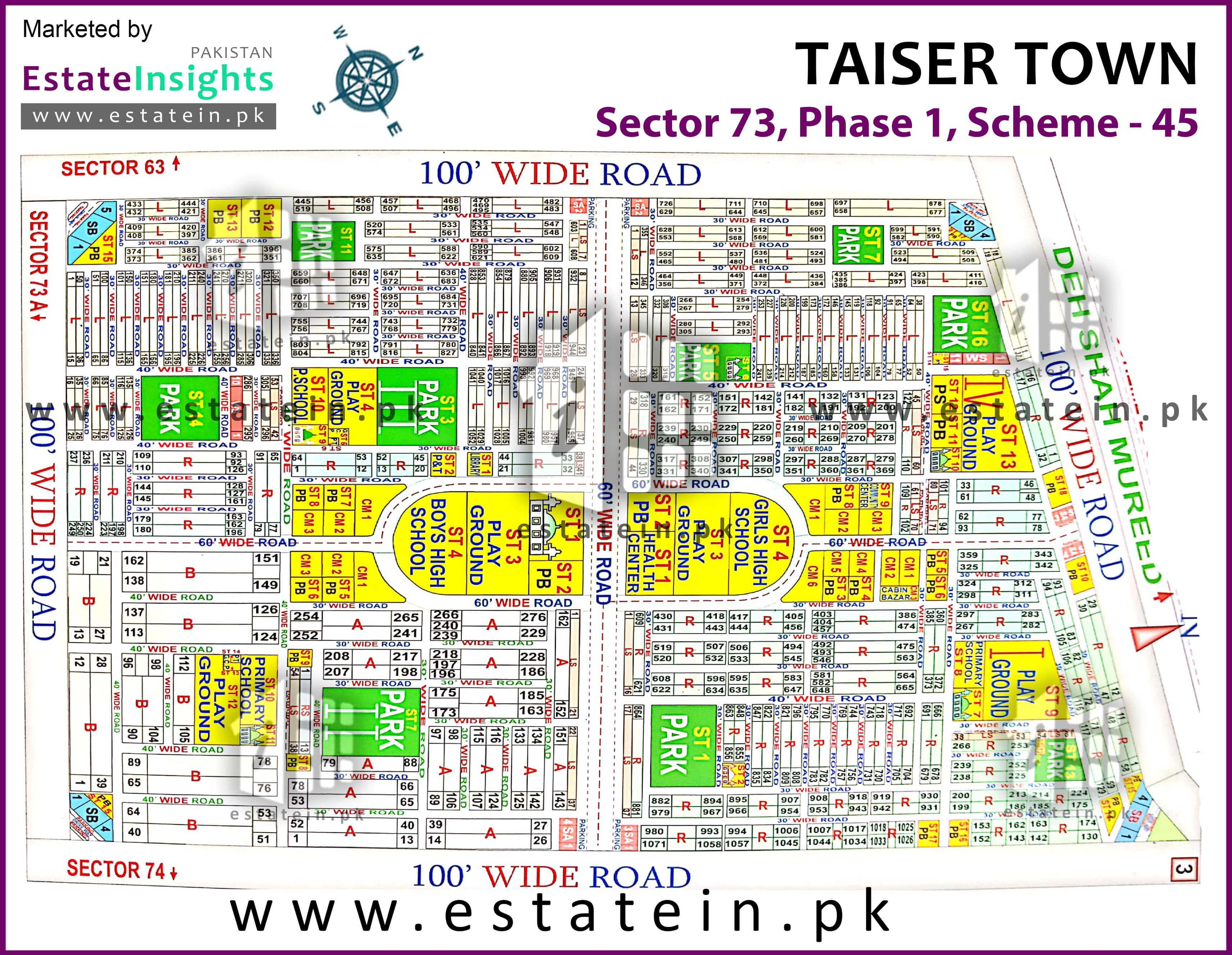 Site Plan of Sector 73 of Taiser Town Phase I