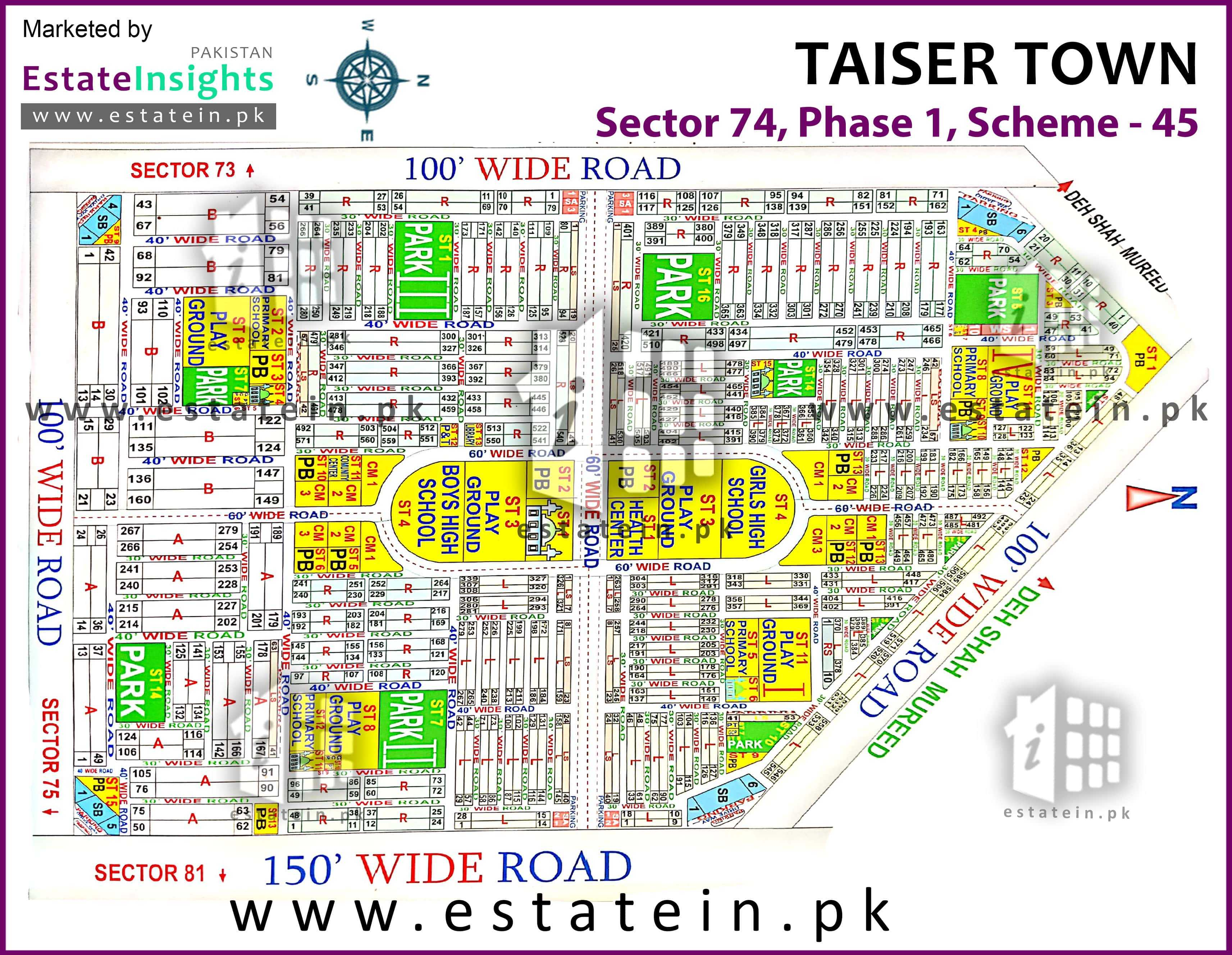 Site Plan of Sector-74 of Taiser Town Phase I