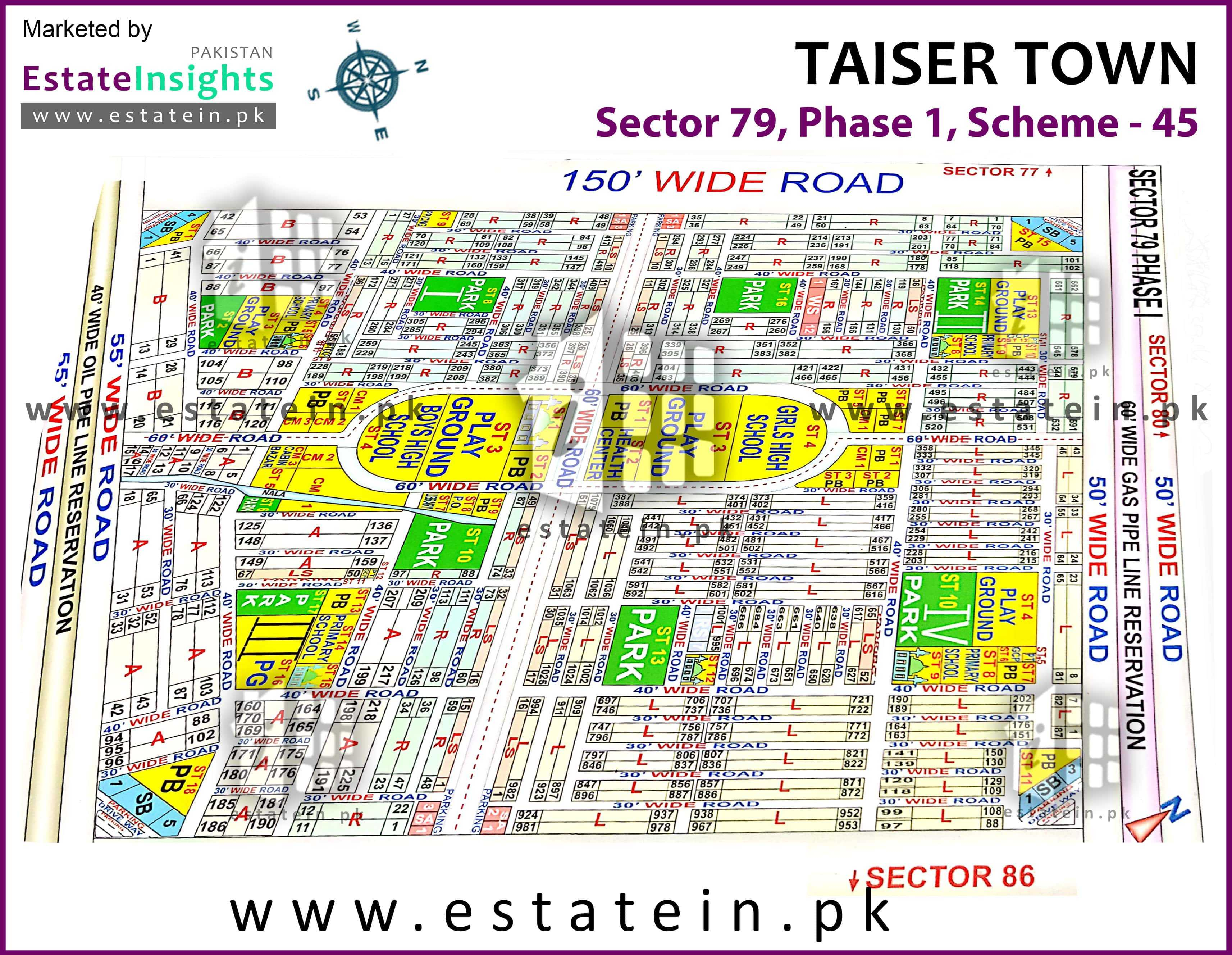 Site Plan of Sector 79 of Taiser Town Phase I