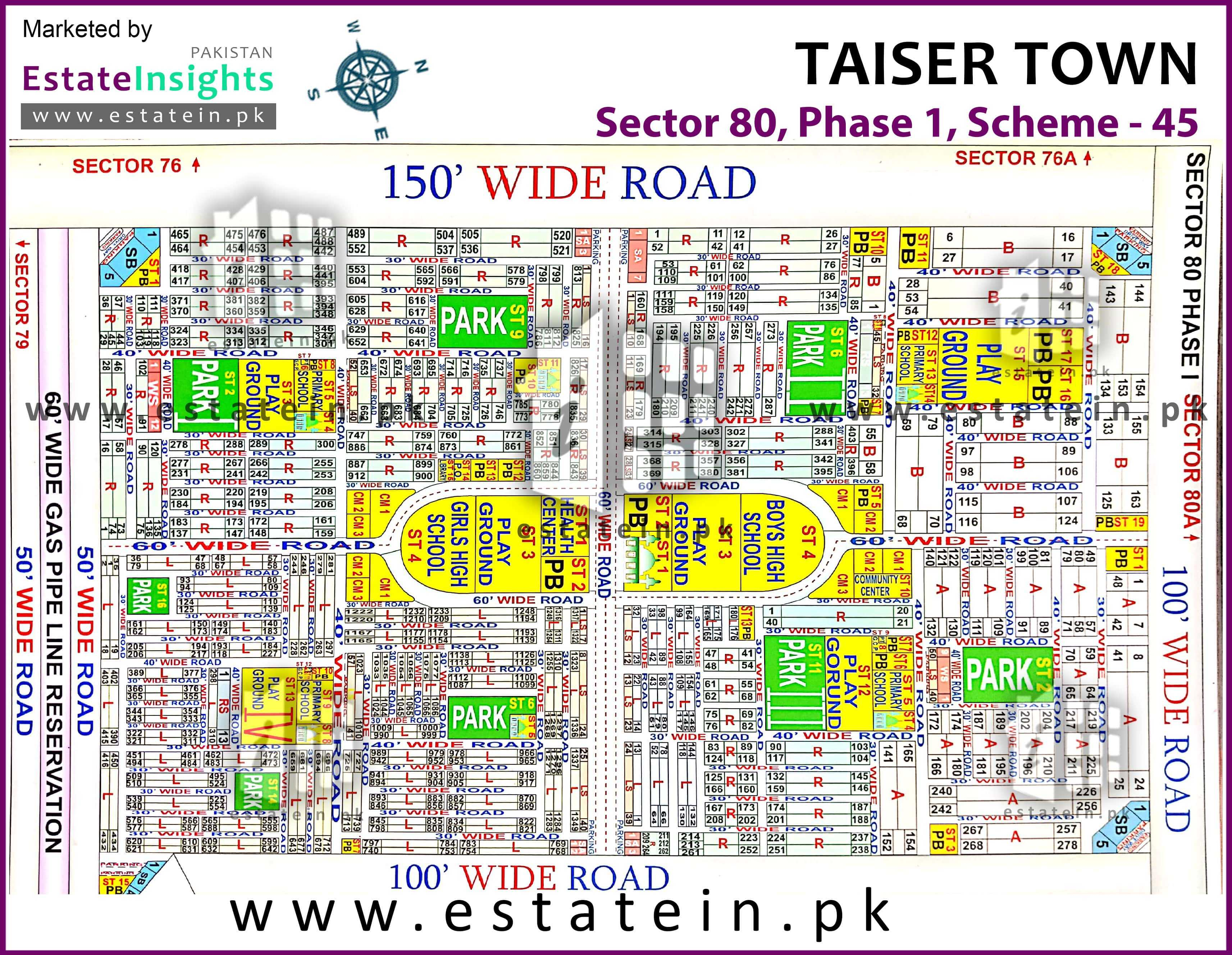 Site Plan of Sector 80 of Taiser Town Phase I