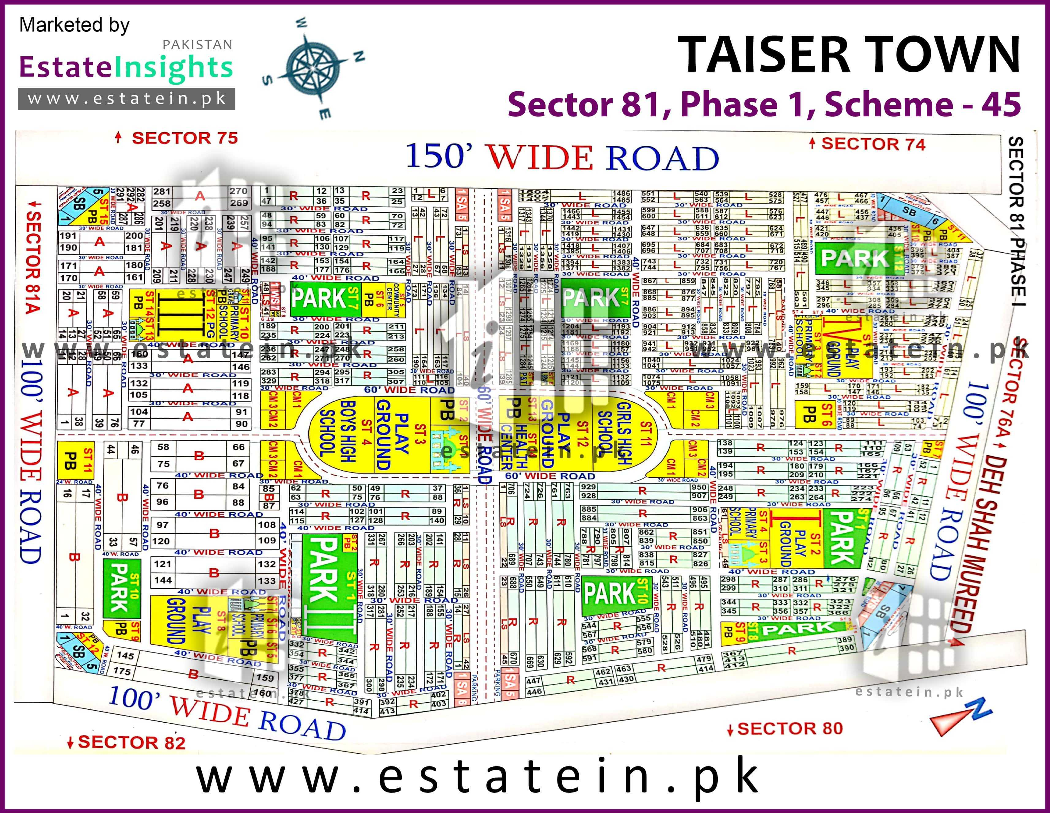 Site Plan of Sector 81 of Taiser Town Phase I