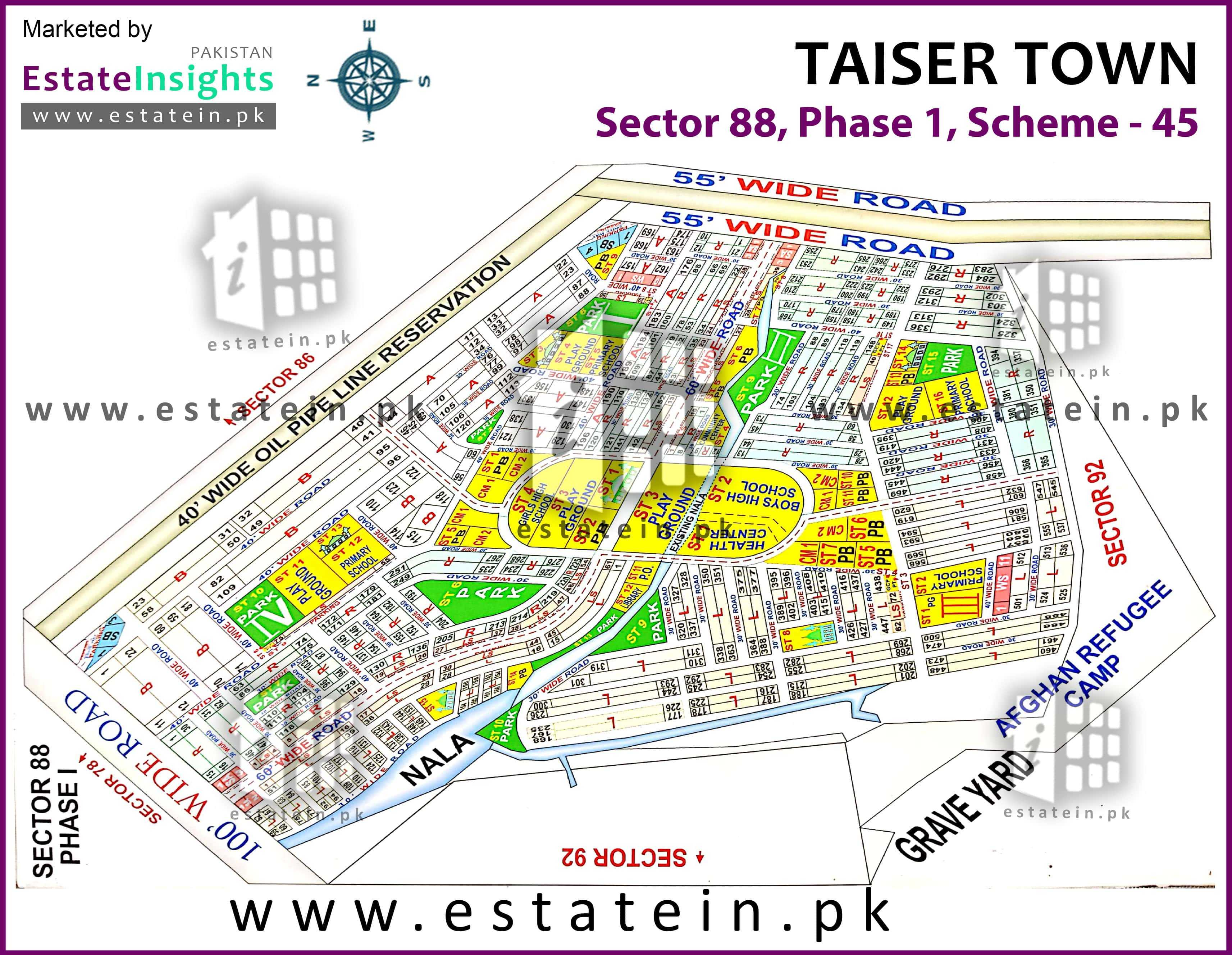 Site Plan of Sector 88 of Taiser Town Phase I