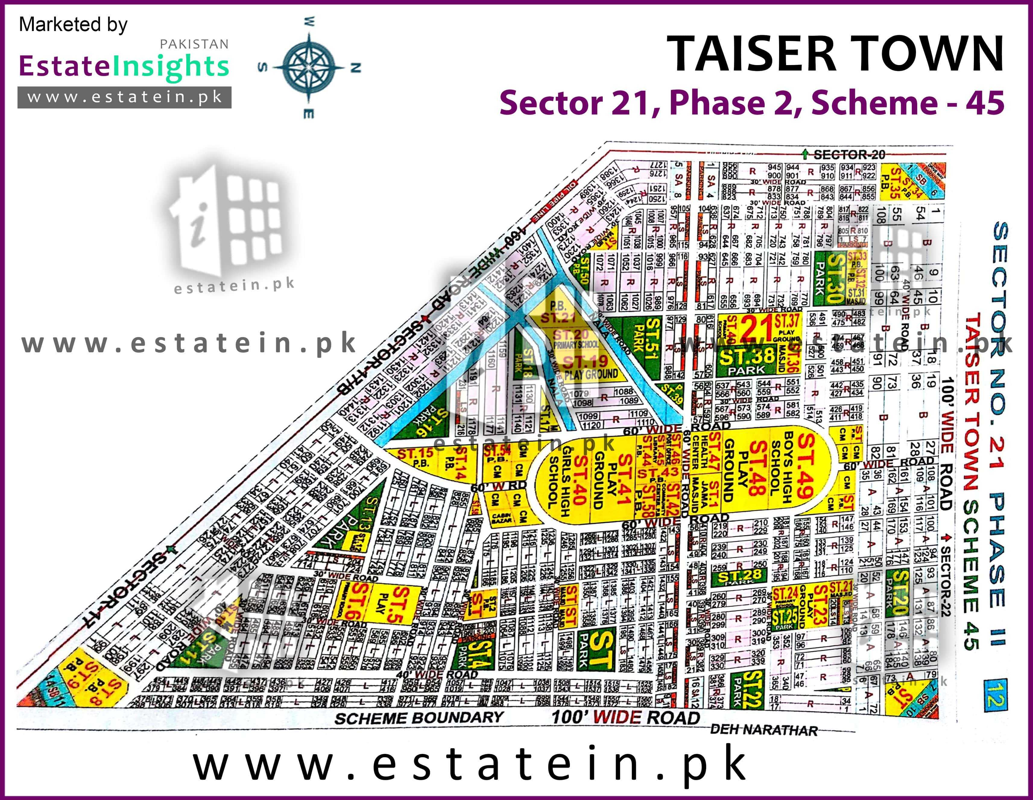 Site Plan of Sector 21 of Taiser Town Phase II