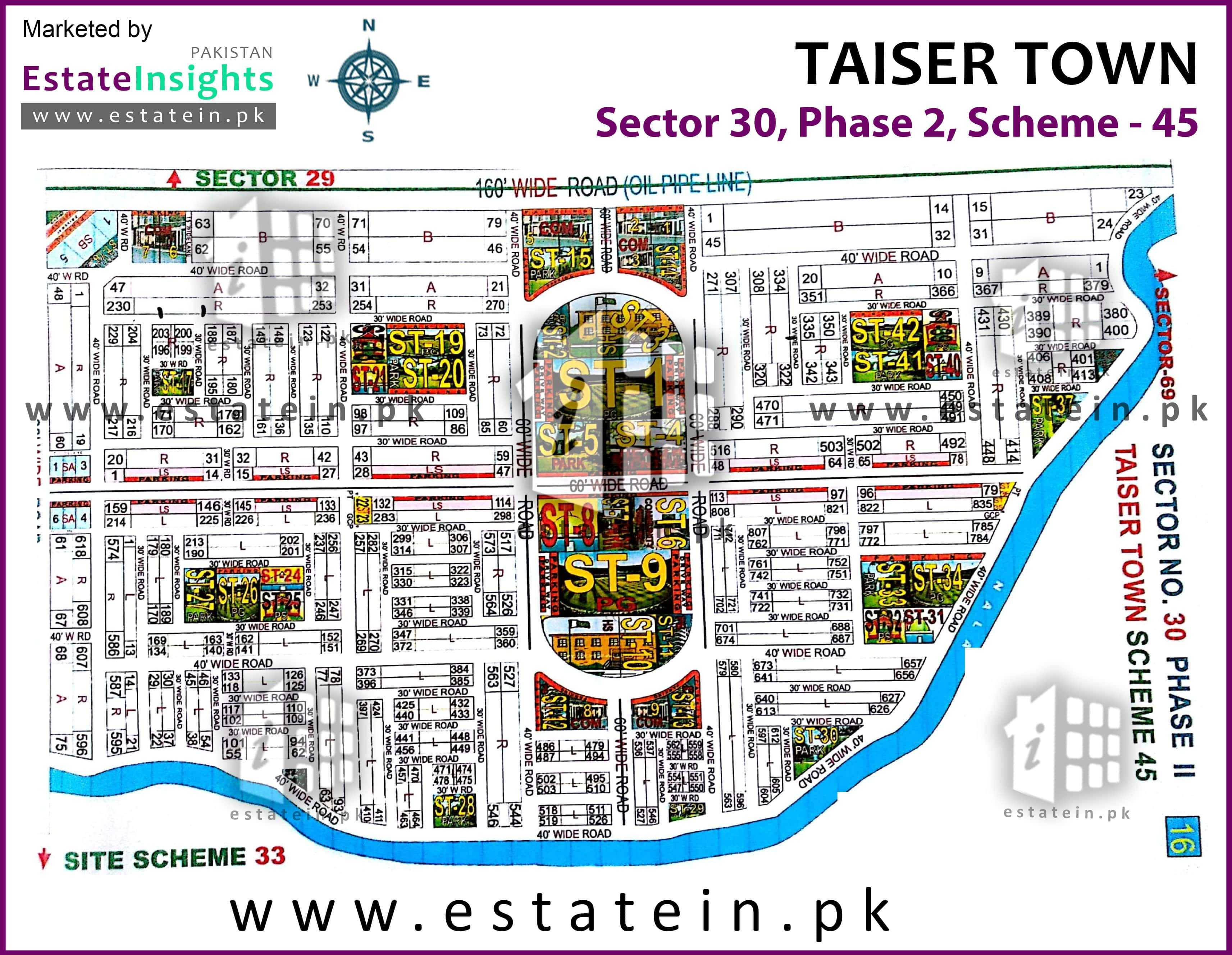 Site Plan of Sector 30 of Taiser Town Phase II