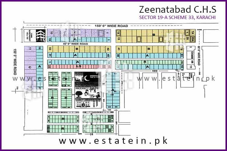 Site Plan of Block 1 of Zeenatabad Cooperative Housing Society