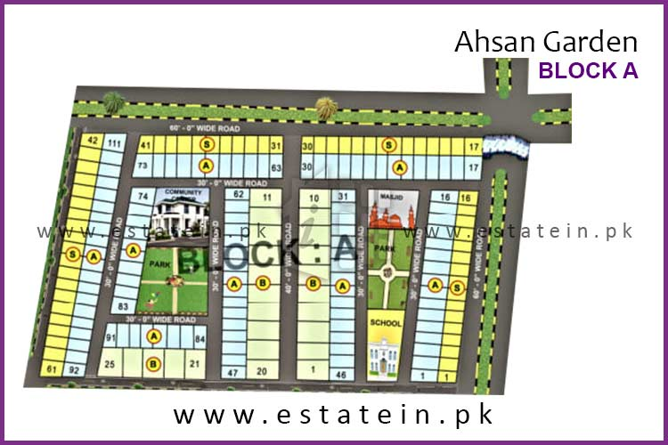 Site Plan of Block A of Ahsan Garden and Ahsan Grand City