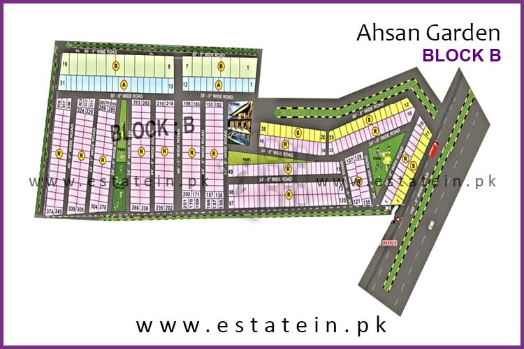 Site Plan of Block B of Ahsan Garden and Ahsan Grand City