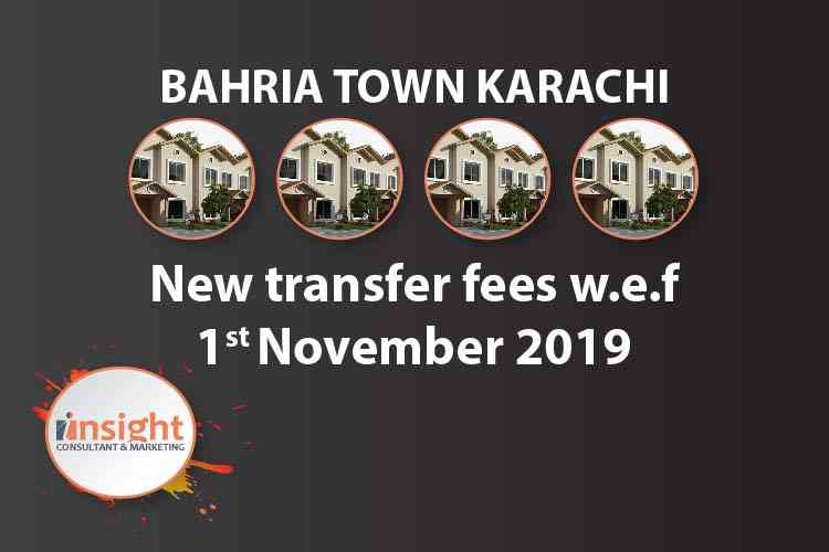 New Transfer/facilitation charges of Bahria Town Karachi effective from 1st November 2019
