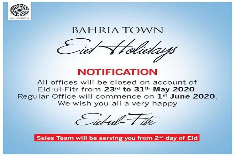 Bahria Town announced Eid-ul-Fitr Holidays from 23-31 May 2020