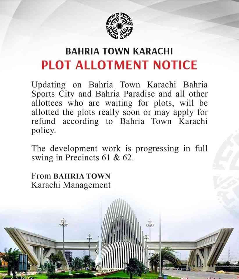 Plot Allotment Notice from Bahria Town Karachi