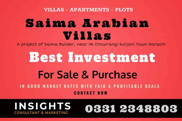Villa, Apartment and Plot for Sale in Saima Arabian Villas