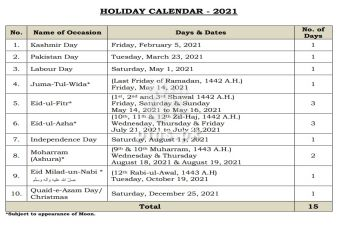 Upcoming Holidays in new year 2021