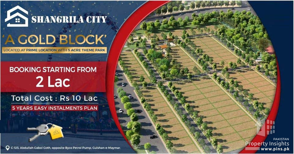 125 Sq Yards Plot Available in Booking in Gold Block Shangrila City Scheme 45
