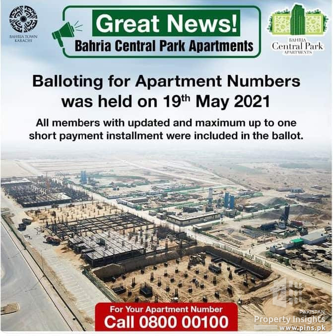 Bahria Town Central Park Apartment Balloting on 19 May 2021
