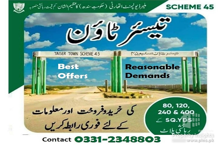 Taiser Town Plots Sale & Purchase in Good Rates