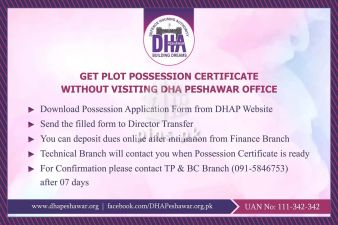 Get Possession Certificate online without visiting DHA Peshawar Office