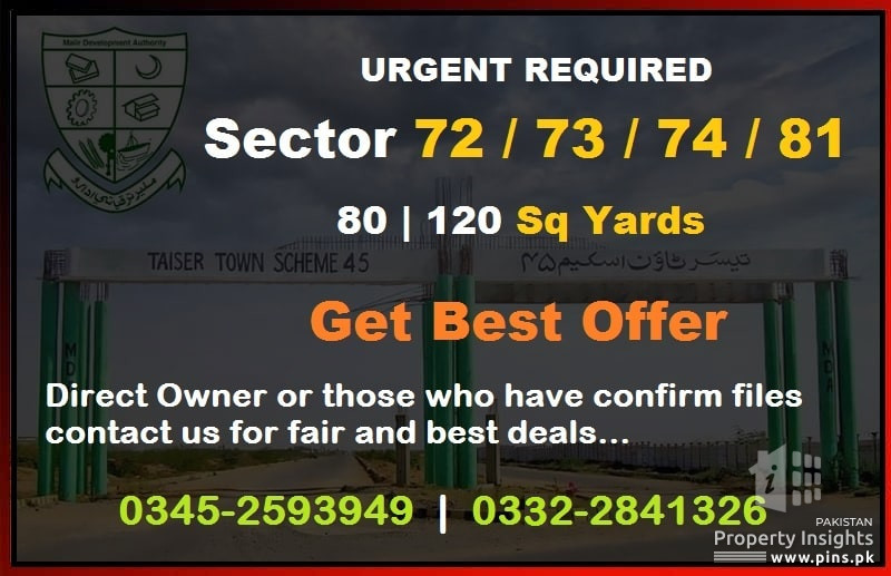 Taiser Town - Urgent Required Sector 72-73-74-81 on Best Offers