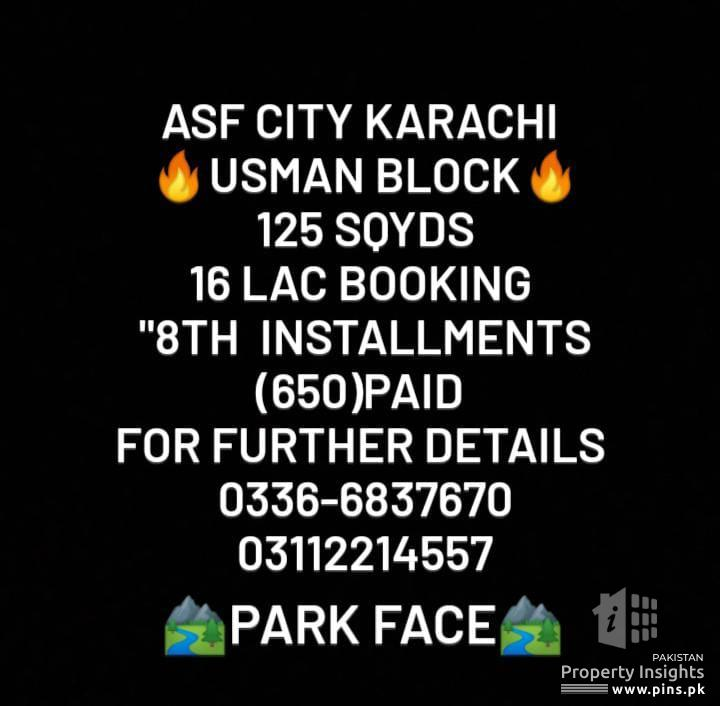 125 sqy plot for sale in ASF City on Installment