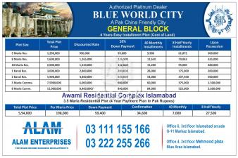 Blue world City Islamabad 5, 8, 10 Marla plot for sale