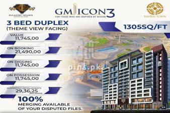 3 Bed Duplex Apartment in GM ICON 3 Bahria Town Karachi on Installments
