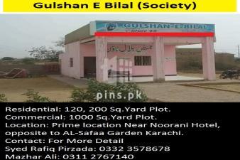 120, 200 Sq.Yard Plot for sale in Gulshan-e-Bilal Scheme 45