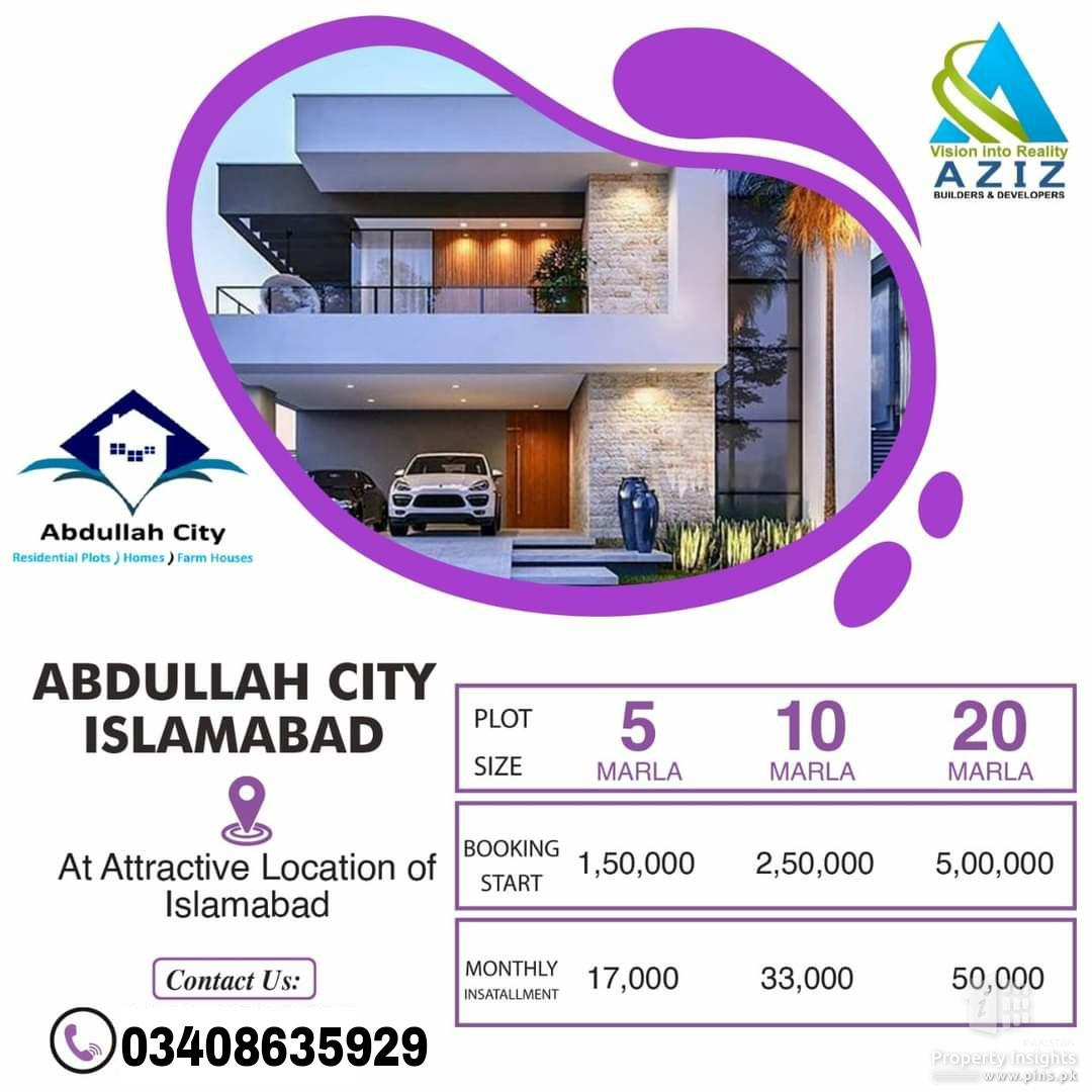 5,10 and 20 marla residential plots are available in Abdullah City Islamabad