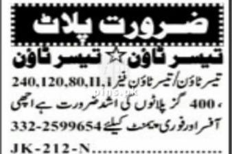 Taiser Town sector 63 plot Required