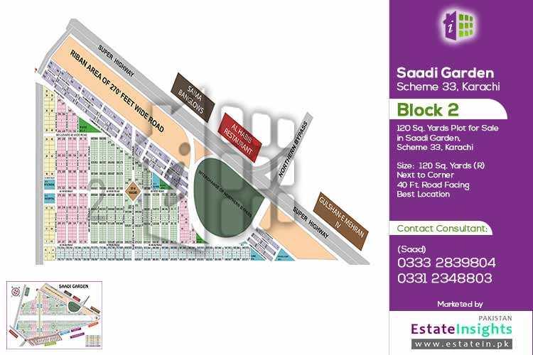 120 Sq.Yd Next to Corner Plot For Sale In Saadi Garden