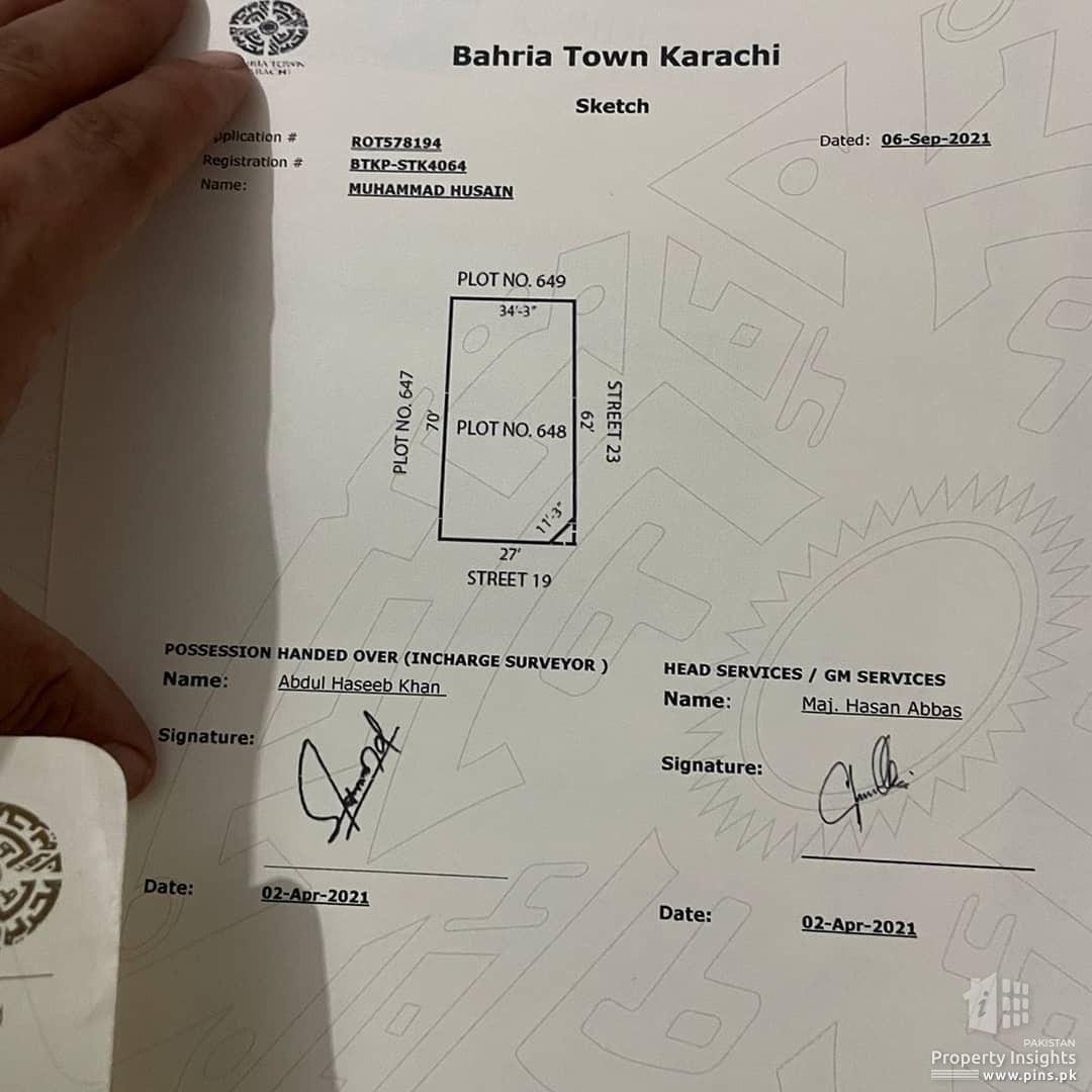 250 square yards plot for sale in Bahria town Karachi Precinct 21