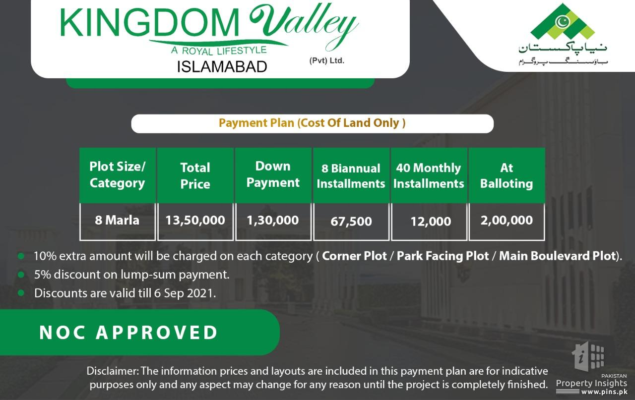 Kingdom Valley Islamabad NOC approved 03009125931