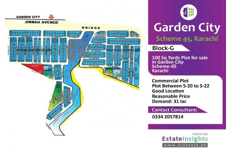 100 Sq Yards Commercial Plot for sale in Block-G Garden City