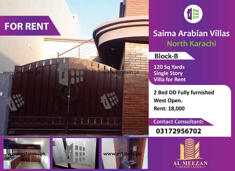 New Single 120 Banglow on Rent in Saima Arabian Villas