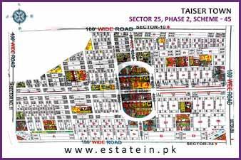 80 Sqy Corner Plot for Sale in Sector 25 Phase 2 Taiser Town Karachi