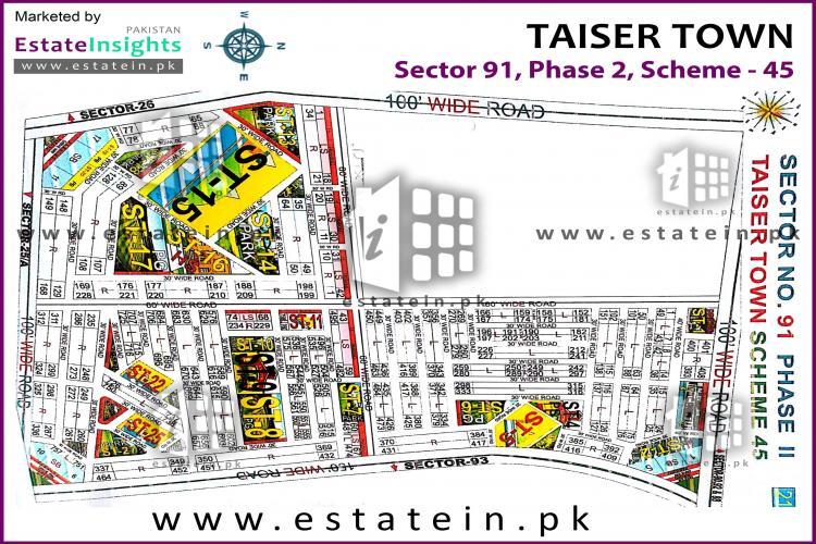 80 Sqy Plot for Sale Sector 91 Phase 2 Taiser Town Karachi