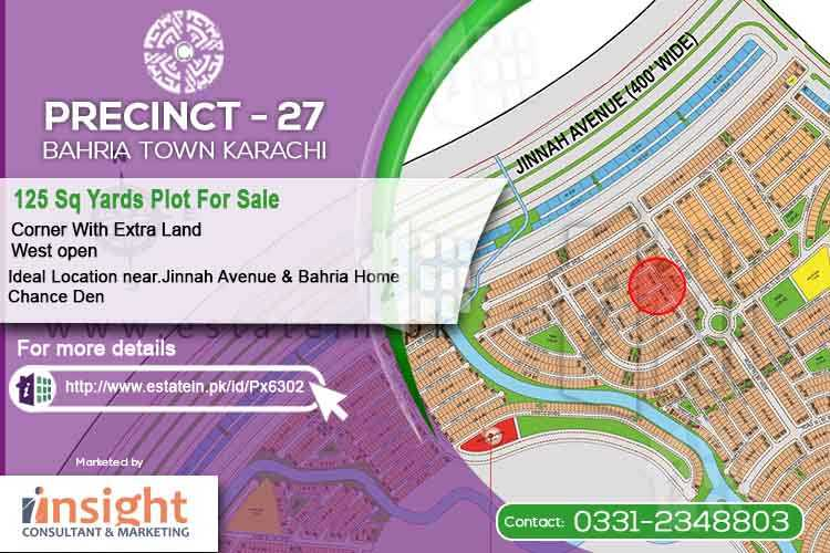 125 Sqy Corner West Open with Extra Land Precinct 27 Plot for Sale