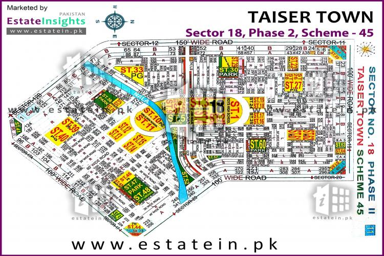 80 Sqy Plot for Sale Sector 18 Taiser Town Karachi