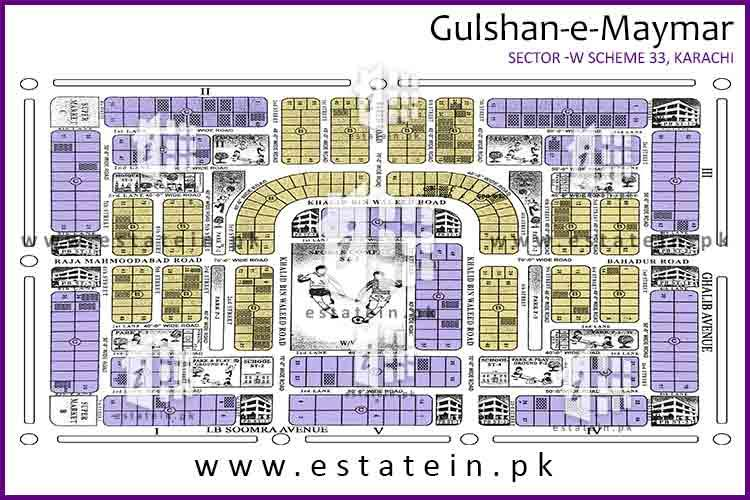 400 yards plot for sale in Sector W Gulshan-e-Maymar