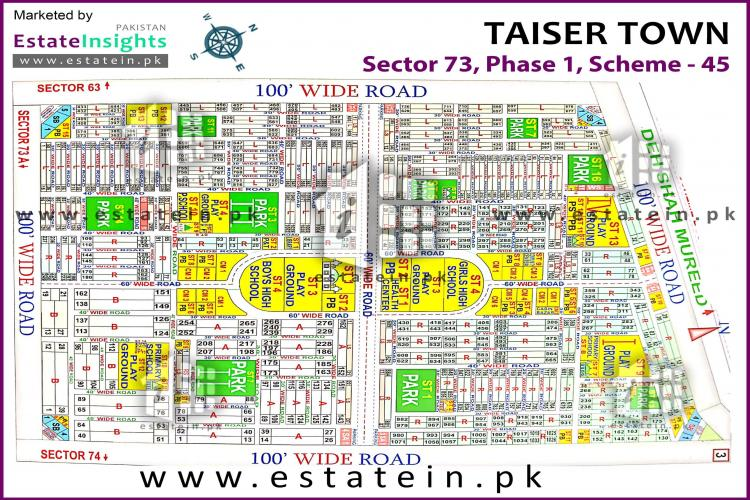 80 Sq Yards Corner Plot for sale in Sector 73 Taiser Town