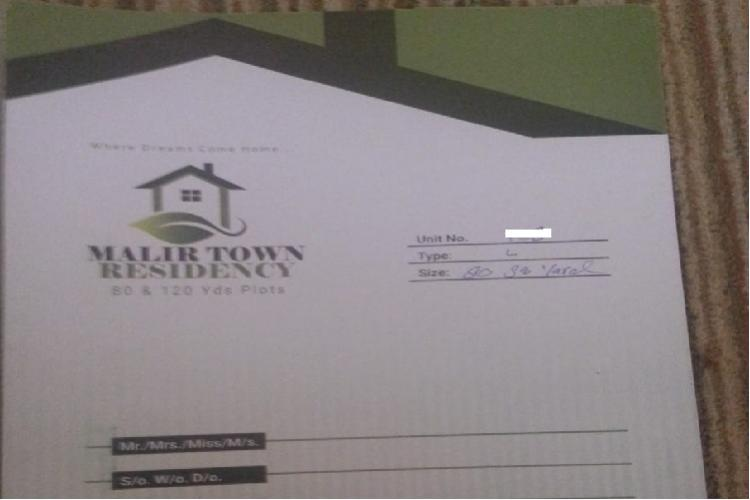 80 yards Open File for Sale in Malir Town Residency