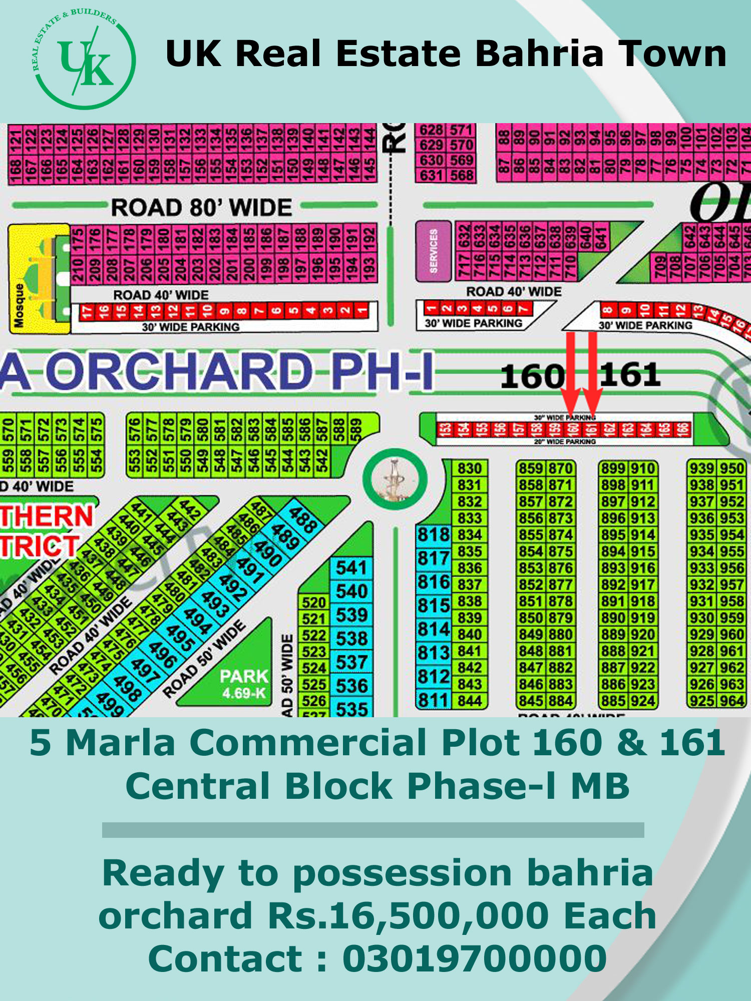 5 Marla Commercial Plots 160 & 161 Central Block Phase-l Main Boulevard Ready to possession bahria orchard Rs.16,500,000 Each