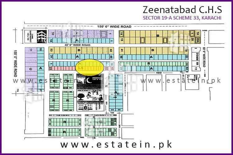 120 Sqy Commercial Plot for Sale in Zeenatabad CHS Scheme 33