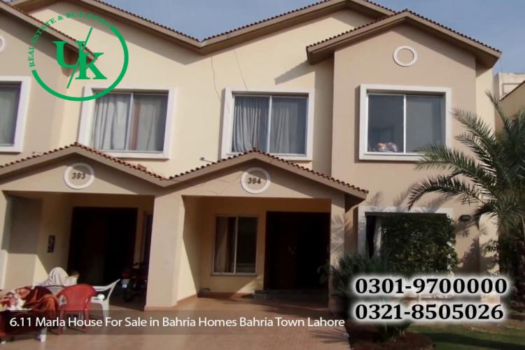 6.11 MARLA BAHRIA HOME'S FOR SALE IN BAHRIA TOWN