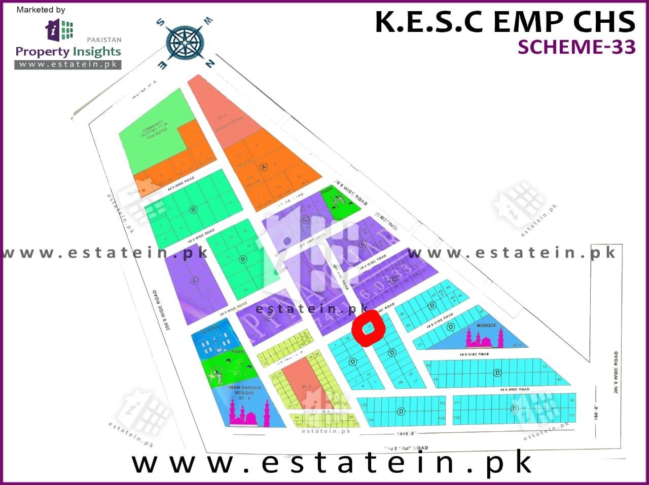 200 Sq yards Corner Plot for Sale in KESC Society Scheme 33